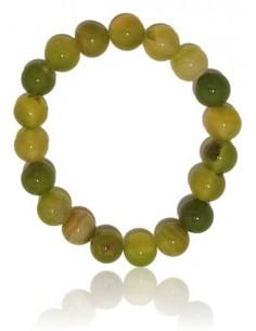Bracelet agate vert clair pierres boules 10 mm