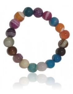 Bracelet agate multicolore pierres boules 10 mm
