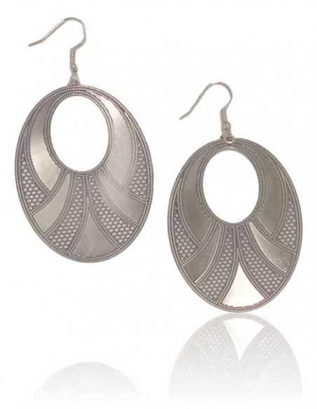 Boucles d'oreilles pendantes fantaisie ovales motifs graphiques
