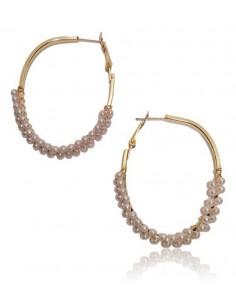 Créoles ovales dorées perlées