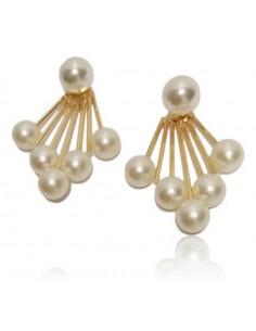 Boucles d'oreilles 2 en 1 éventail et perles