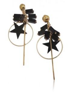 Boucles d'oreilles créoles fantaisie étoiles et cubes pampilles noires