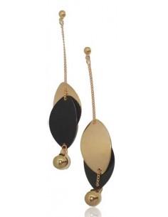 Boucles d'oreilles pendantes feuilles design bi-colore or/noir