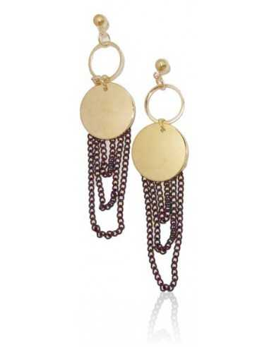 Boucles d'oreilles fantaisie chainettes noires pendantes