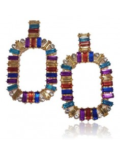 Boucles d'oreilles créoles carrées pendantes cristal