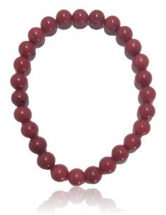 Bracelet corail reconstitué perles rondes 7 mm