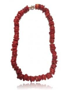 Collier corail perles chips pierres de synthèse