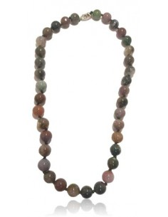 Collier agate indienne pierres boules 10 mm