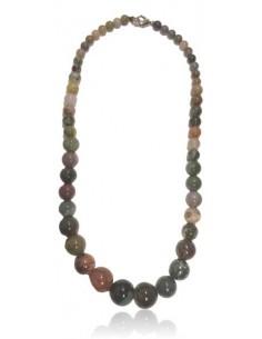 Collier agate indienne pierres boules dégradées