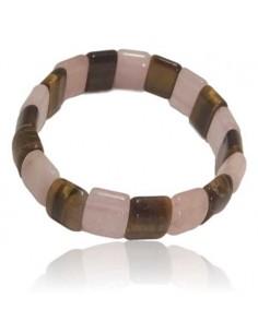 Bracelet quartz rose /oeil de tigre pierres carrées
