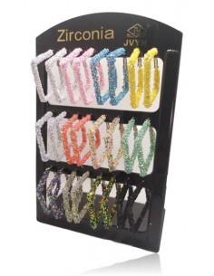 12 paires de créoles carrées paillettes couleurs sur présentoir
