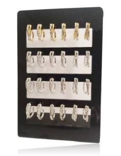 12 paires créoles croisées texturées et zirconiums
