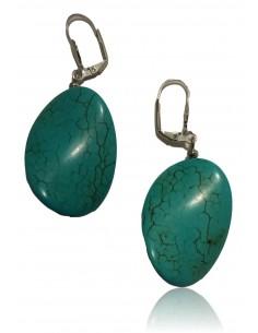 Boucles d'oreilles turquoise de synthèse ovales recourbées