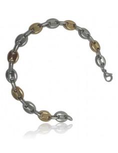 Bracelet acier inoxydable maille de café bi-colore