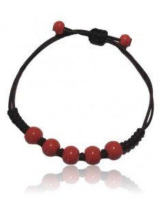 Bracelet ajustable perles de céramique rouge