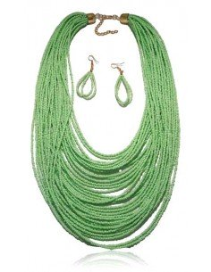 Parure perles de rocailles vert pastel multirangs