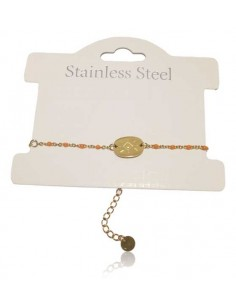 Bracelet acier inoxydable fin motif ovale