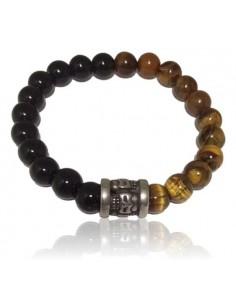 Bracelet oeil de tigre & agate noire décoré perle acier inoxydable