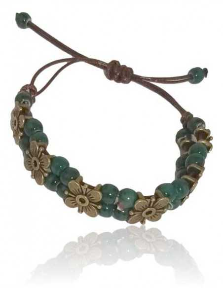 Bracelet perles de céramique motif fleurs