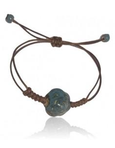 Bracelet réglable perle de céramique motif fleur