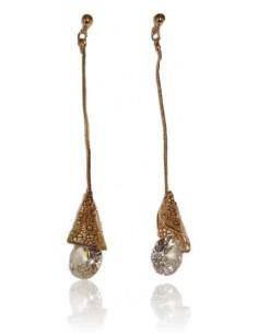 Boucles d'oreilles pendantes avec zirconium aux extrémités