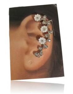 Bijoux d'oreilles motif fleurs blanches
