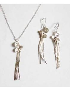 Parure collier pendentif papillon et boucles d'oreilles