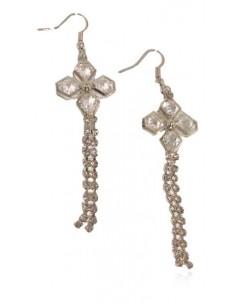 Boucles d'oreilles pendantes fleur et zirconiums