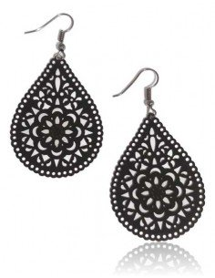 Boucles d'oreilles gouttes pendantes motifs mandalas fleurs