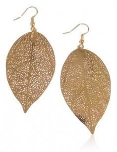 Boucles d'oreilles longues feuilles pendantes fantaisie