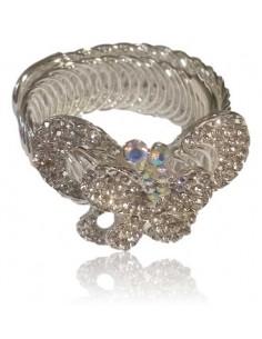 Bracelet manchette extensible pour soirée motif papillon serti