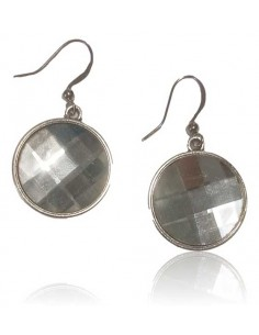 Boucles d'oreilles cristal rondes facettées pendantes
