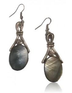 Boucles d'oreilles nacre pendantes ovales vintage