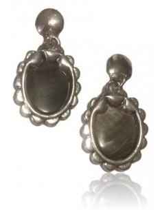 Boucles d'oreilles nacre pendantes boutons ovales vintage