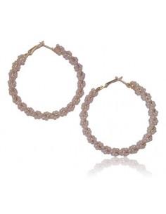 Créoles torsades de perles blanches fantaisie
