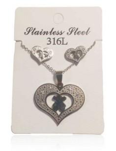 Parure acier inoxydable collier pendentif gros coeur & B.O
