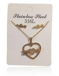 Parure acier inoxydable collier pendentif coeur fléché & B.O