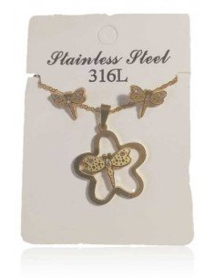 Parure acier collier pendentif fleur et papillon + boucles
