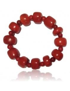 Bracelet corail de synthèse pierres cubiques