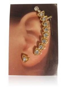 Bijoux d'oreilles ligne de triangles sertis