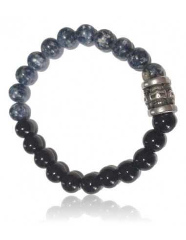 Bracelet sodalite & agate noire décoré perles acier inoxydable