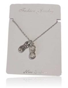 Collier acier inoxydable pendentif cacahuète et perles blanches