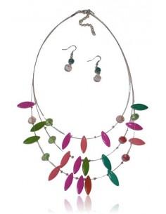 Parure collier multirangs cascade de perles de verre & B.O