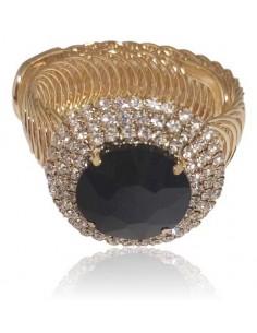 Bracelet manchette soirée extensible gros cristal rond