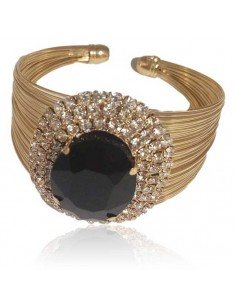 Bracelet manchette rigide multi-rangs ouvert cristal ovale