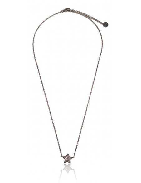 Collier acier inoxydable pendentif étoile sertie de zirconiums