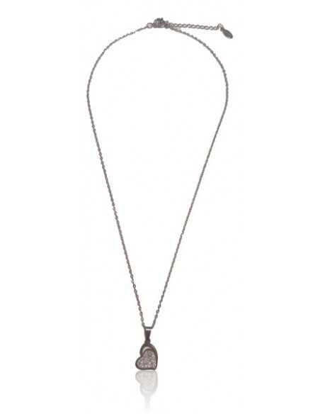 Collier acier inoxydable pendentif coeur inversé serti de zirconiums