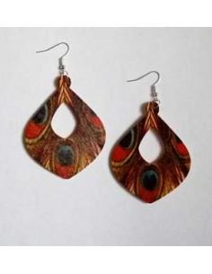 Boucles d'oreilles fantaisie en bois motifs plumes 5 cm