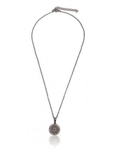 Collier acier inoxydable pendentif motif mandala serti de zirconiums
