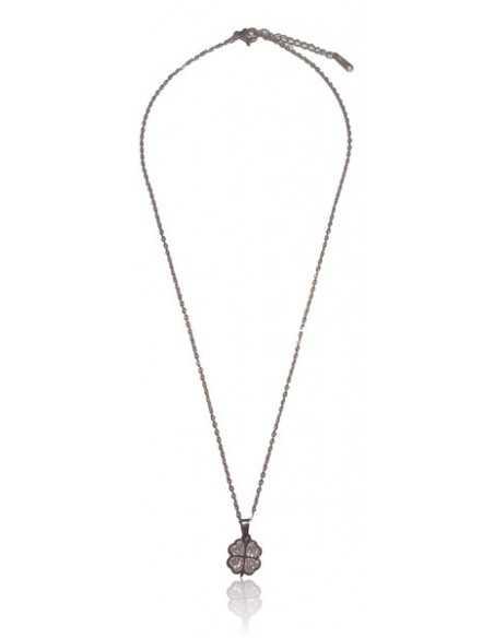 Collier acier inoxydable pendentif trèfle serti de zirconiums